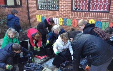 Year 6 beginning work on our Prayer Garden