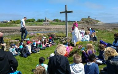 Celebrating Mass on St. Cuthbert's Island.